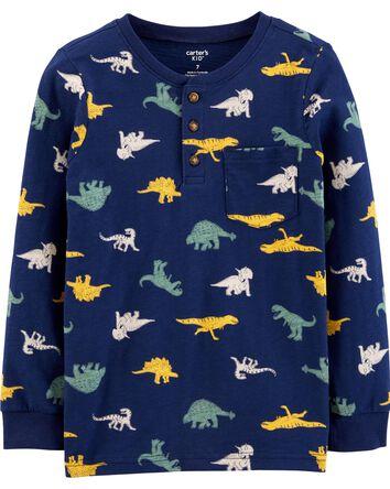 T-shirt henley en jersey flammé din...