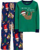 2-Piece Santa Sloth Fleece PJs, , hi-res