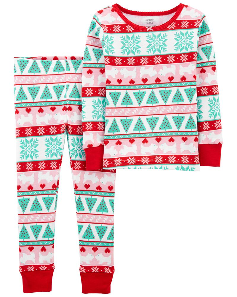 Pyjama 2 pièces en coton ajusté à motif jacquard, , hi-res