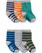 Emballage de 6 paires de chaussettes mi-mollet rayées, , hi-res