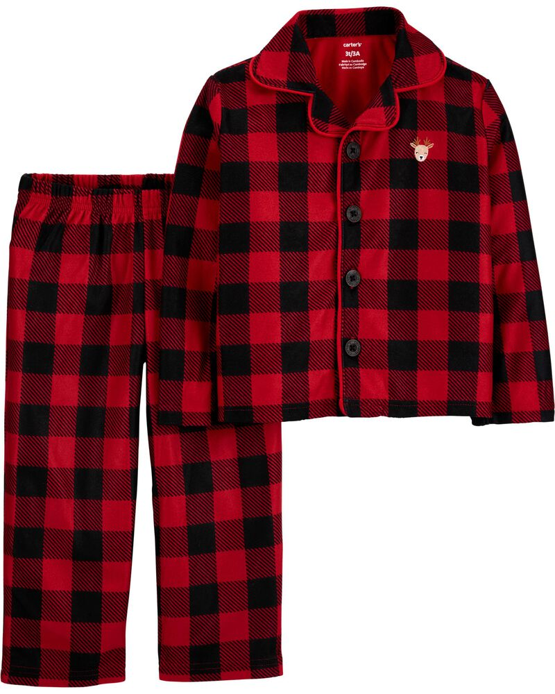 2-Piece Buffalo Check Coat-Style Fleece PJs, , hi-res