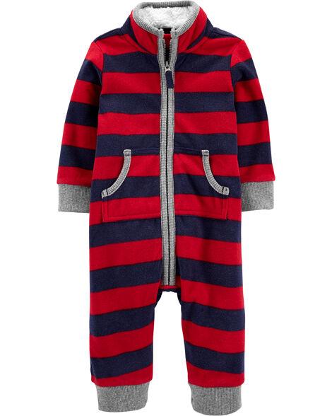 Zip-Up Striped Fleece Jumpsuit