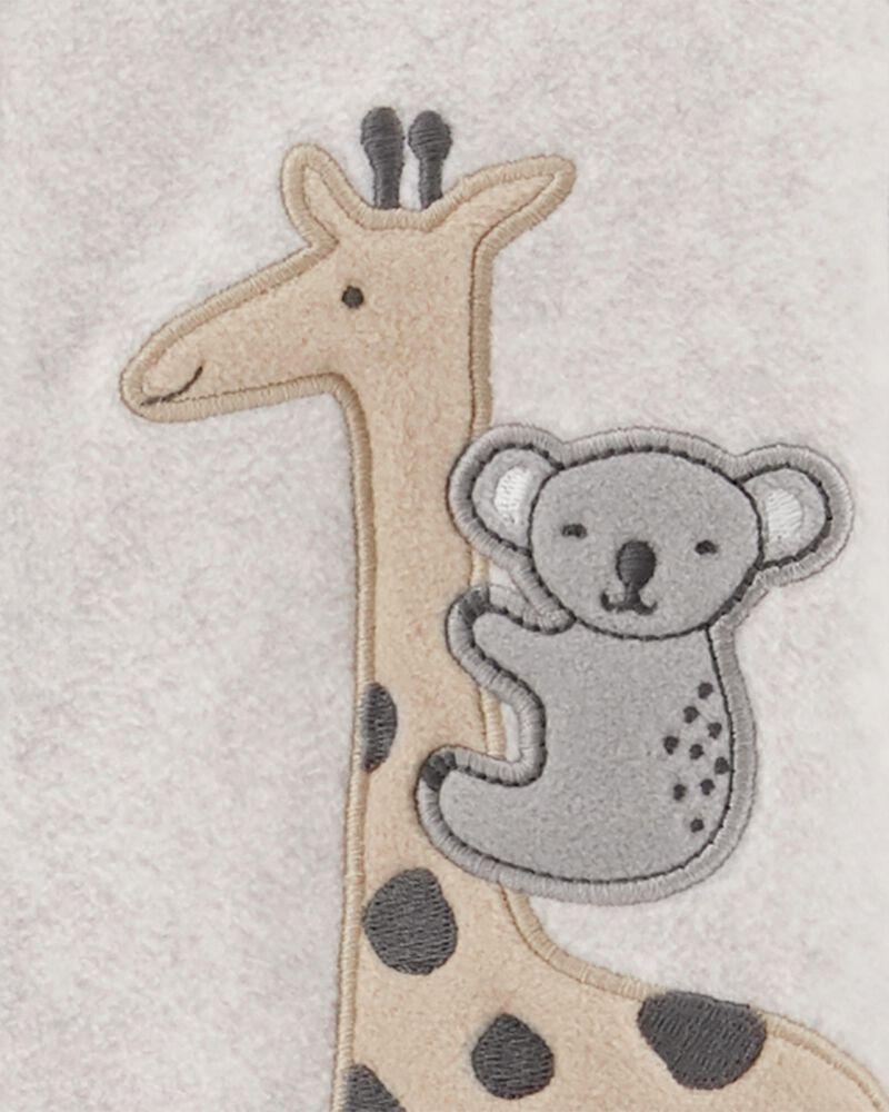 Grenouillère en molleton à boutons-pression motif girafe, , hi-res