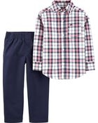 2-Piece Plaid Button-Front Top & Poplin Pant Set, , hi-res