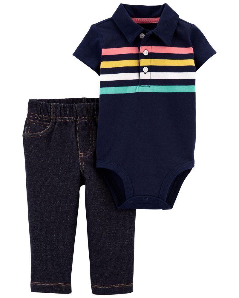 2-Piece Striped Bodysuit Pant Set, , hi-res