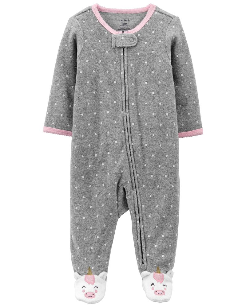Polka Dot Terry Zip-Up Sleep & Play, , hi-res