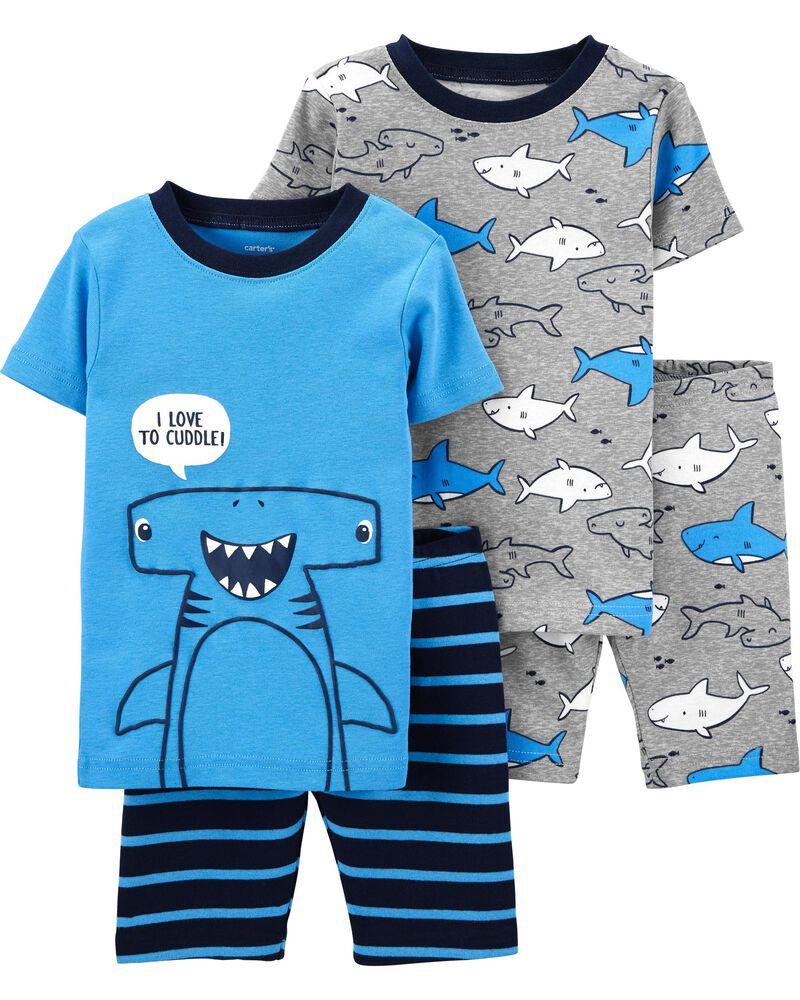 Pyjama 4 pièces en coton ajusté à motif de requin, , hi-res