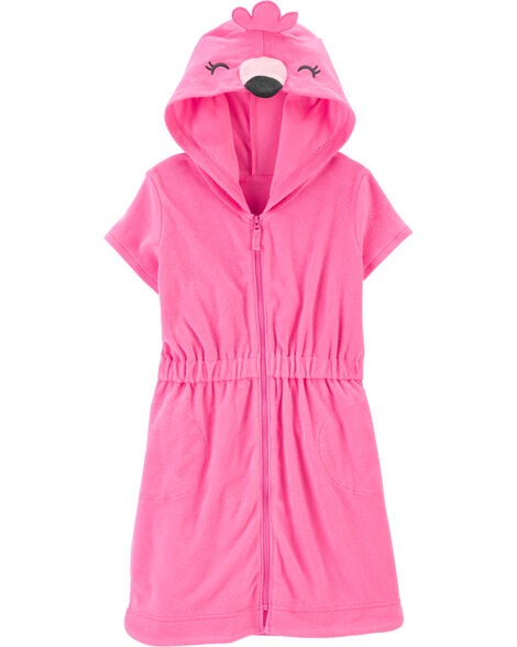 Hooded Flamingo Swim Cover-Up