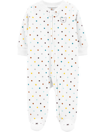 Polka Dot Zip-Up Fleece Sleep & Pla...