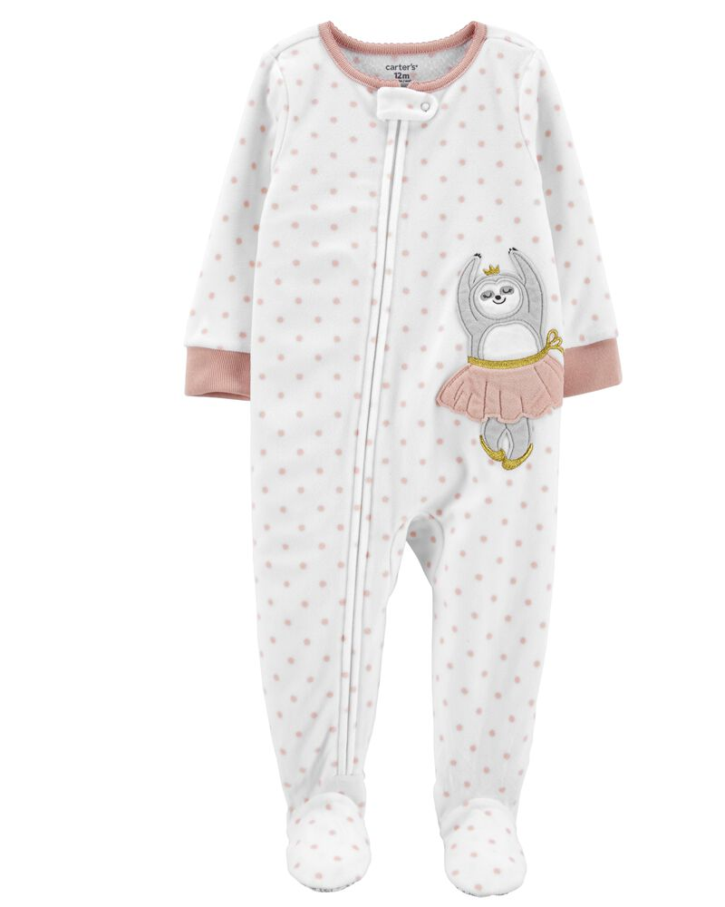 1-Piece Ballerina Sloth Fleece Footie PJs, , hi-res
