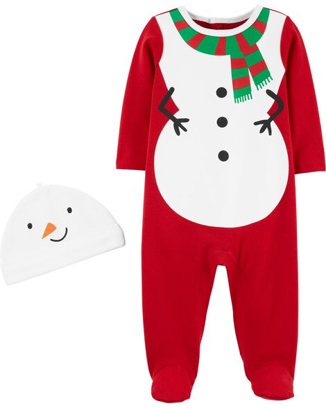 2-Piece Snowman Coverall & Hat Set