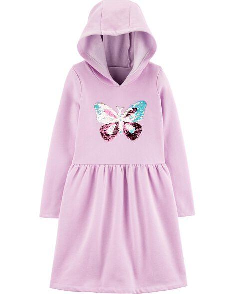 Robe molletonnée à papillon pailleté