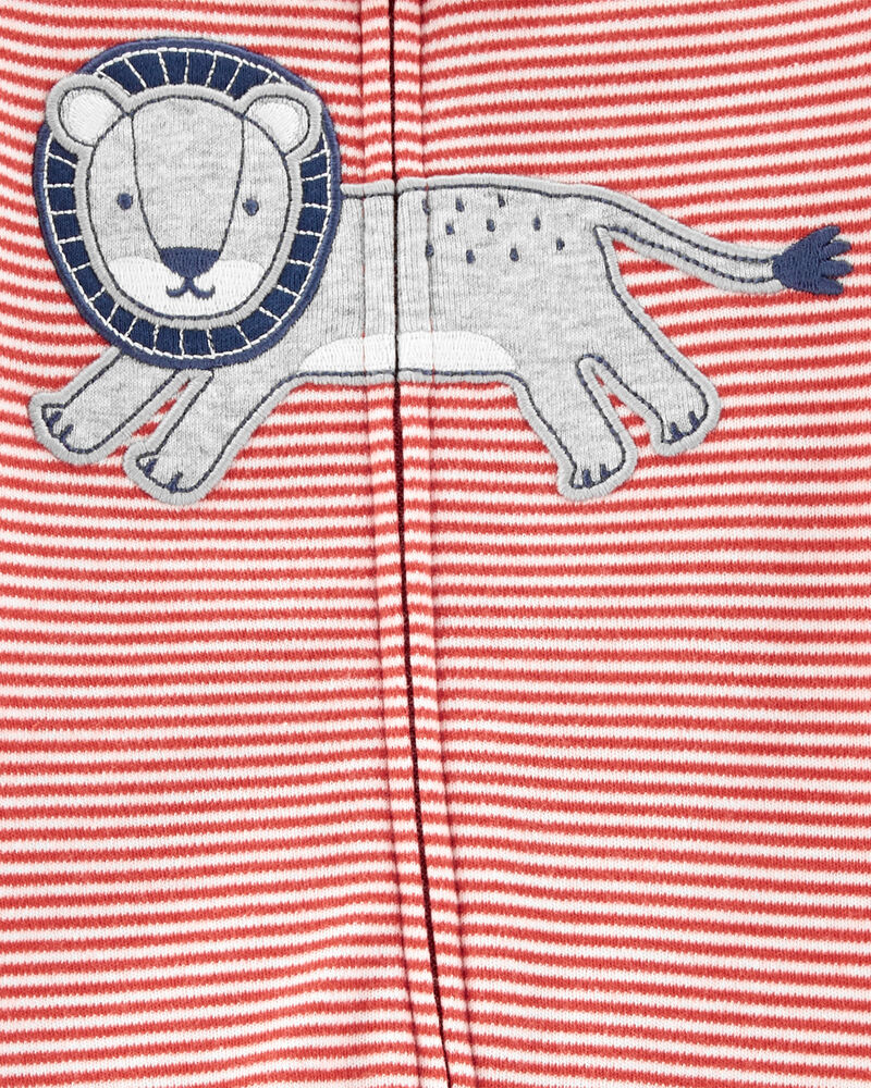 Grenouillère en coton pour dormir et jouer à glissière 2 sens et lion, , hi-res