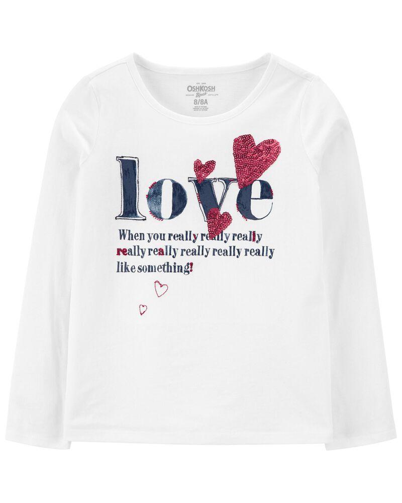 T-shirt à encolure arrondie LOVE, , hi-res