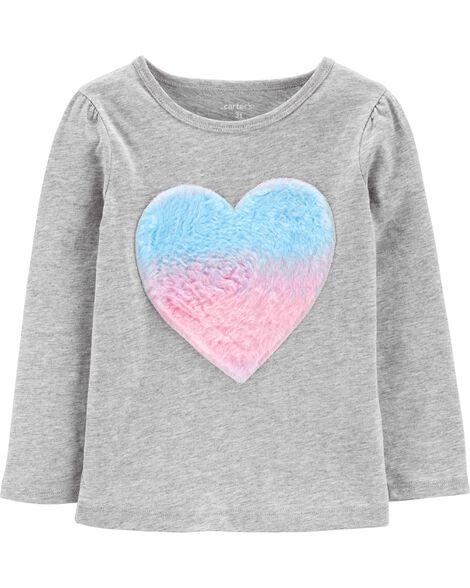 T-shirt en jersey à cœur en fausse fourrure