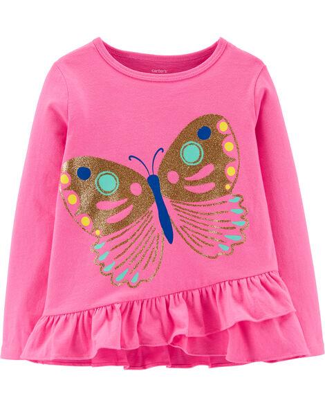 T-shirt en jersey volanté à papillon scintillant