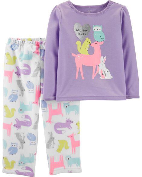 Pyjama 2 pièces en molleton à motif créatures de la forêt