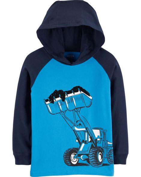 T-shirt à capuchon à manches raglan et imprimé de construction