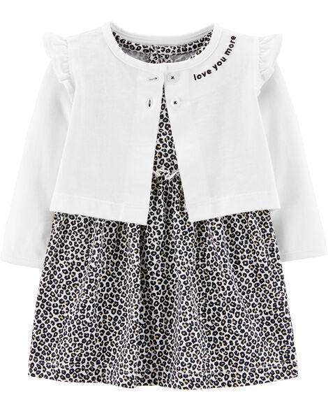 2-Piece Leopard Bodysuit Dress & Cardigan Set