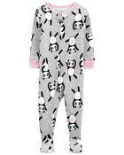 Pyjama 1 pièce à pieds en coton ajusté motif panda, , hi-res