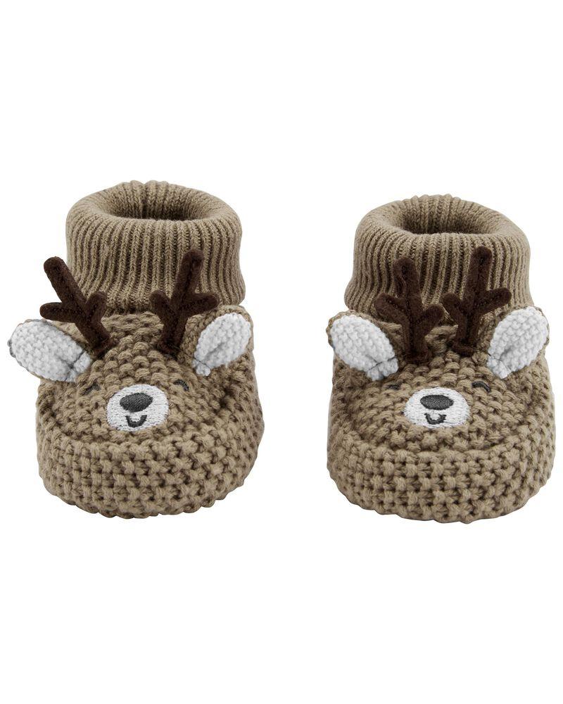 Reindeer Crochet Booties, , hi-res