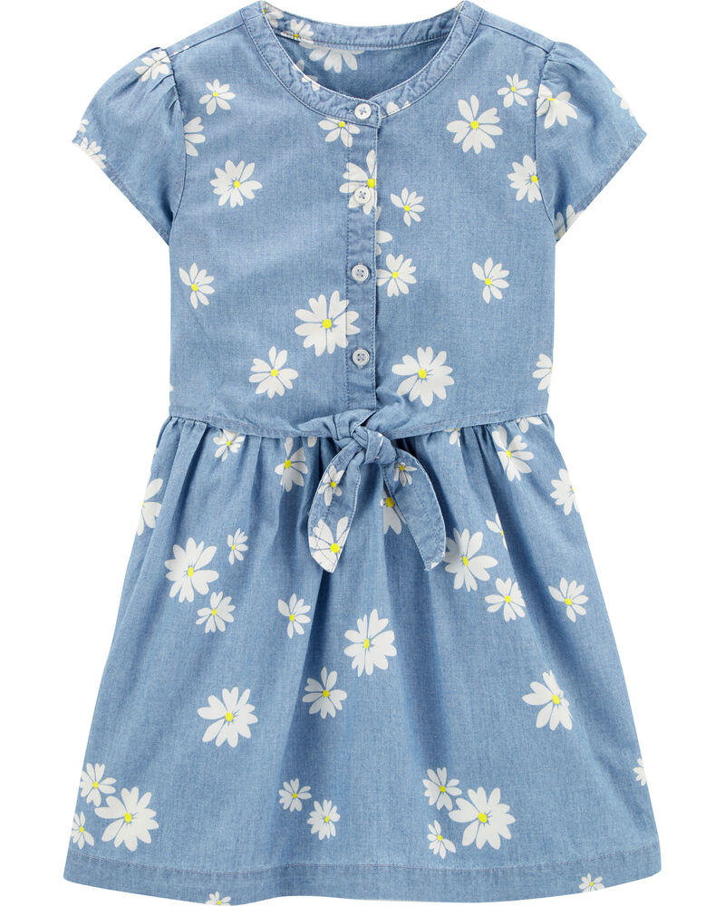 Daisy Bow Chambray Dress, , hi-res