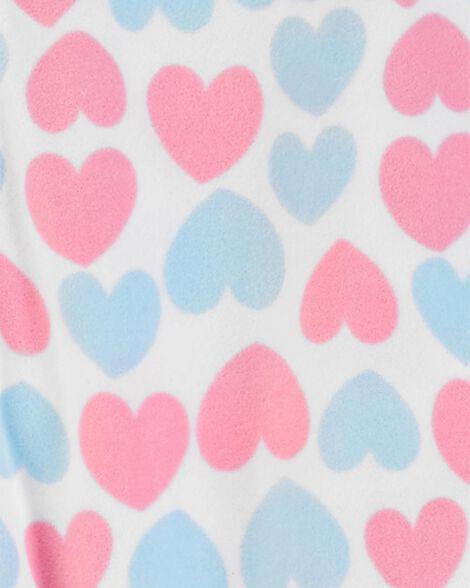 1-Piece Heart Fleece Footie PJs