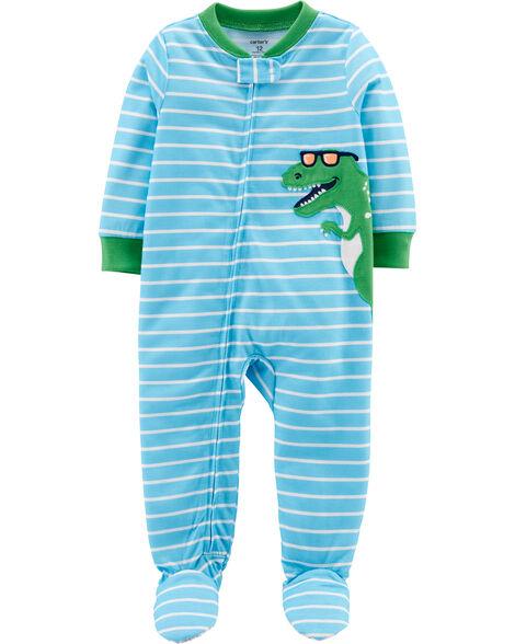 Pyjama 1 pièce à pieds en polyester motif dinosaure