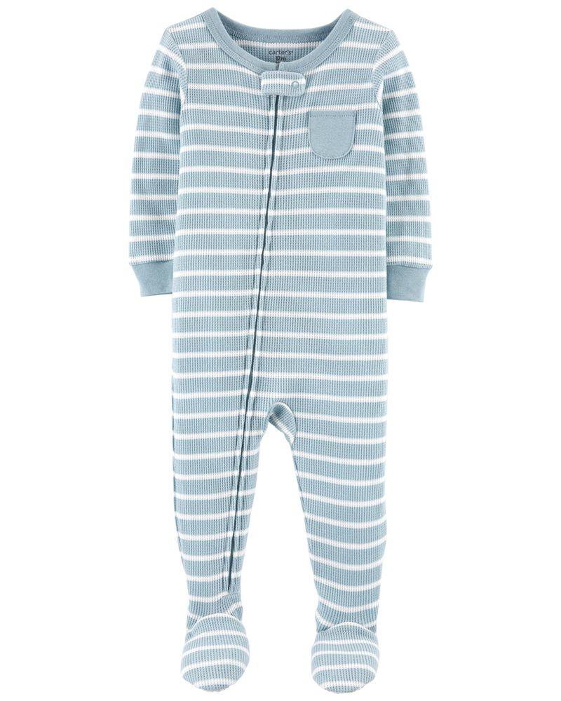 Pyjama 1 pièce rayé avec pieds en coton ajusté , , hi-res