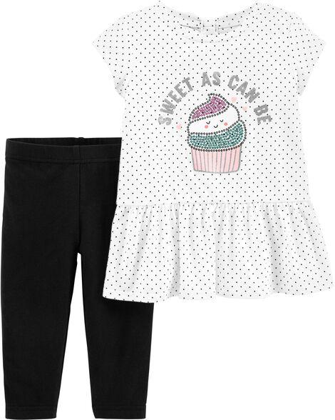 2-Piece Cupcake Peplum Top & Legging Set
