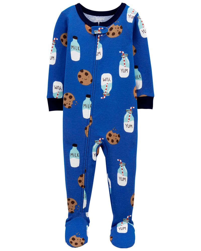 Pyjama 1 pièce à pieds en coton ajusté Milk & Cookies, , hi-res