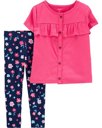 2-Piece Button-Front Sateen Top & F...