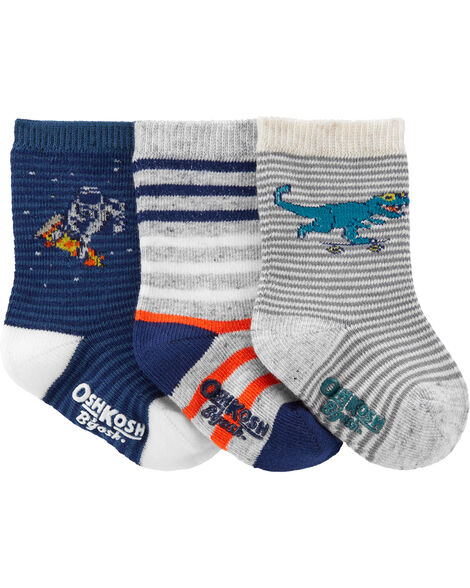 3-Pack Striped Character Crew Socks