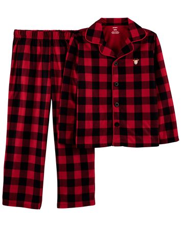2-Piece Buffalo Check Coat-Style Fl...