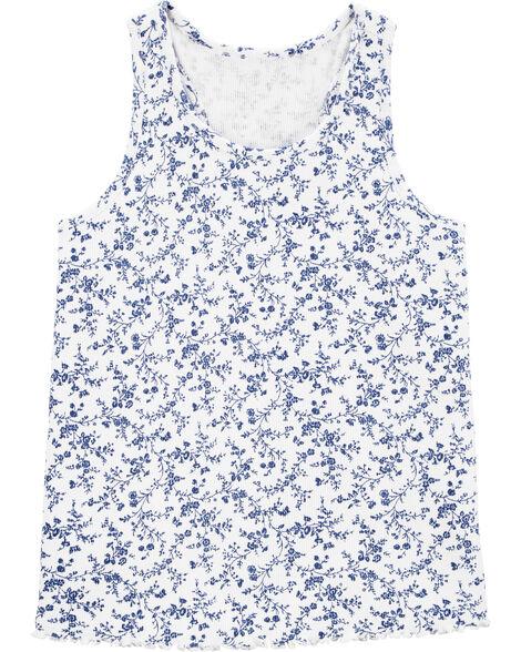 Débardeur côtelé fleuri bleu