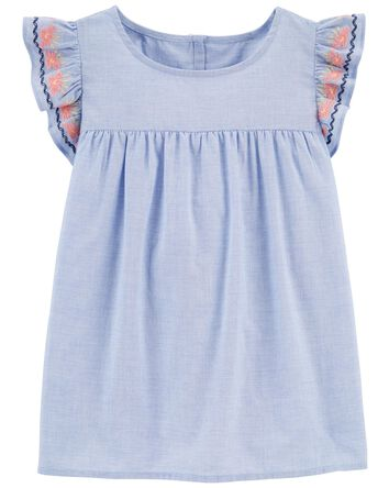 Embroidered Chambray Ruffle Top