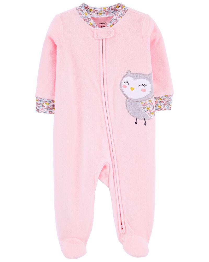 Pyjama 1 pièce à pieds en molleton motif hibou, , hi-res