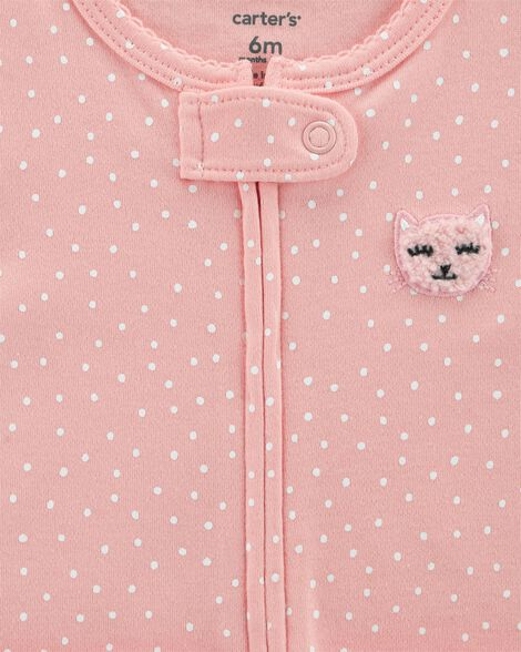 Zip-Up Cat Cotton Sleep & Play
