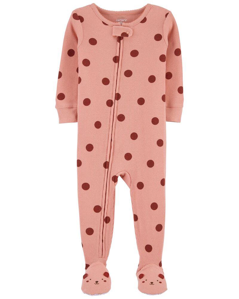 1-Piece Polka Dot 100% Snug Fit Cotton Footie PJs, , hi-res