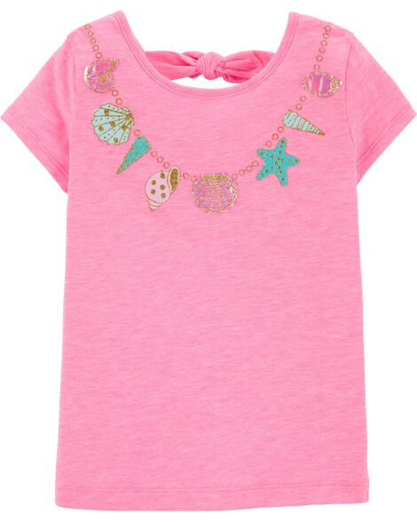 Glitter Necklace Bow Back Tee