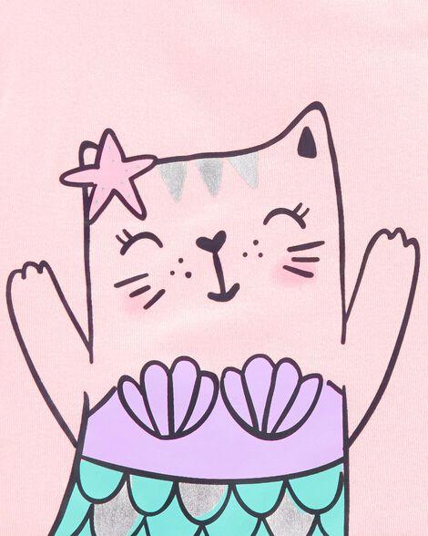 4-Piece Cat Mermaid Snug Fit Cotton PJs