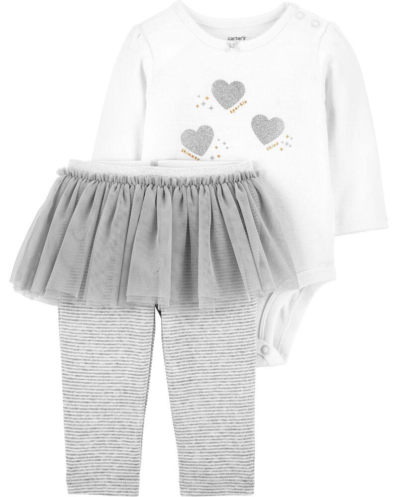 2-Piece Glitter Heart Bodysuit & Tutu Pant Set, , hi-res