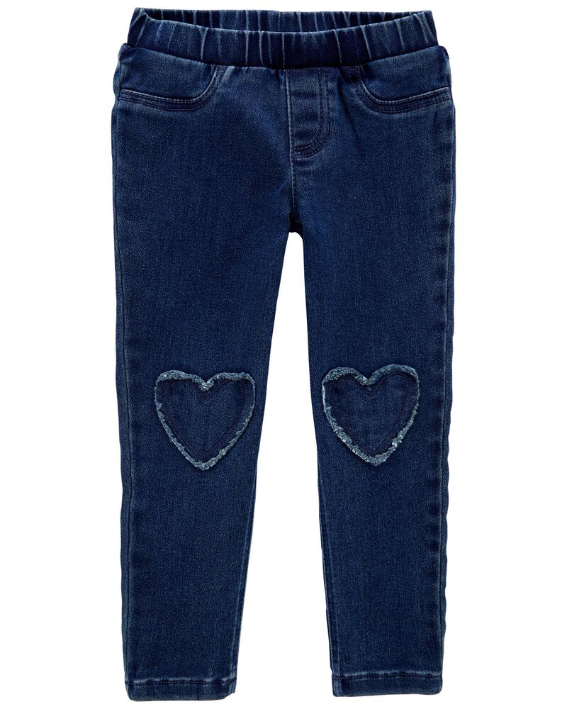Heart Patch Pull-On Jeggings, , hi-res