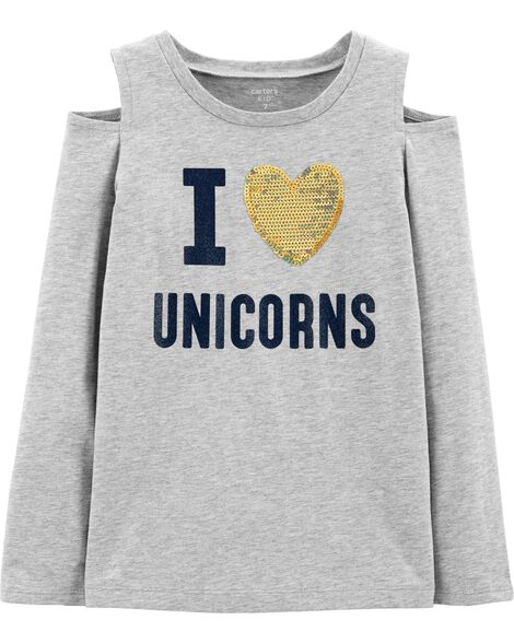 I Love Unicorns Cold Shoulder Tee