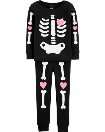 2-Piece Halloween Skeleton Snug Fit...