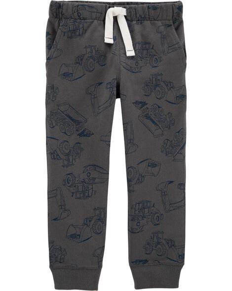 Pantalon de jogging à enfiler en jersey bouclette motif construction