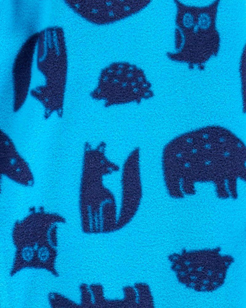 Pyjama 1 pièce à pieds en molleton à motif créatures de la forêt, , hi-res