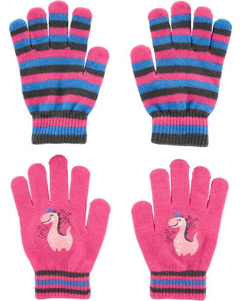 2 paires de gants dinosaure à paume antidérapante