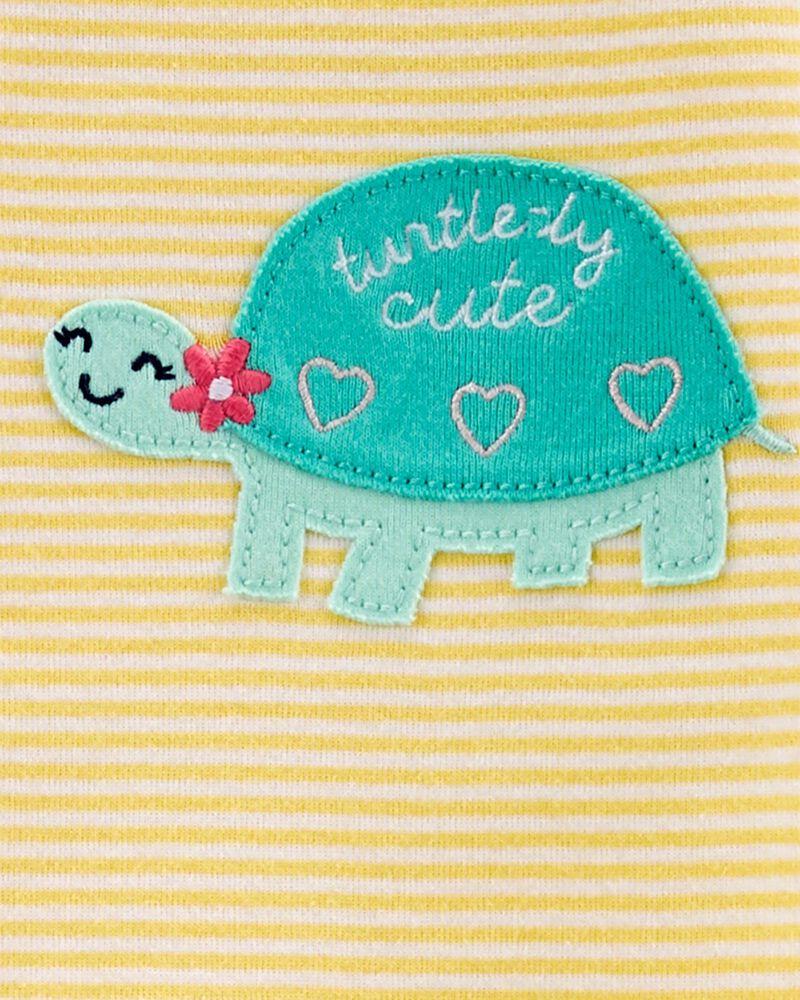 Pyjama 1 pièce à pieds en coton ajusté à tortue, , hi-res