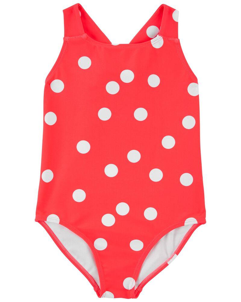Polka Dot 1-Piece Swimsuit, , hi-res